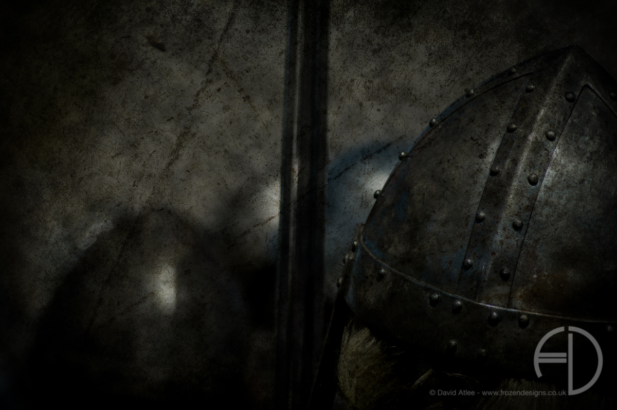 A close up of a Viking helmet