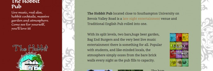 The Hobbit Pub Website