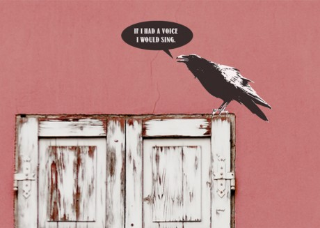 """A Banksy style crow with a speech bubble saying """"A high window with the words """"Dangling feet from window frame, will I ever reach the floor"""". A Banksy style crows in graffiti sits on the window with the words """"If I had a voice I would sing""""."""